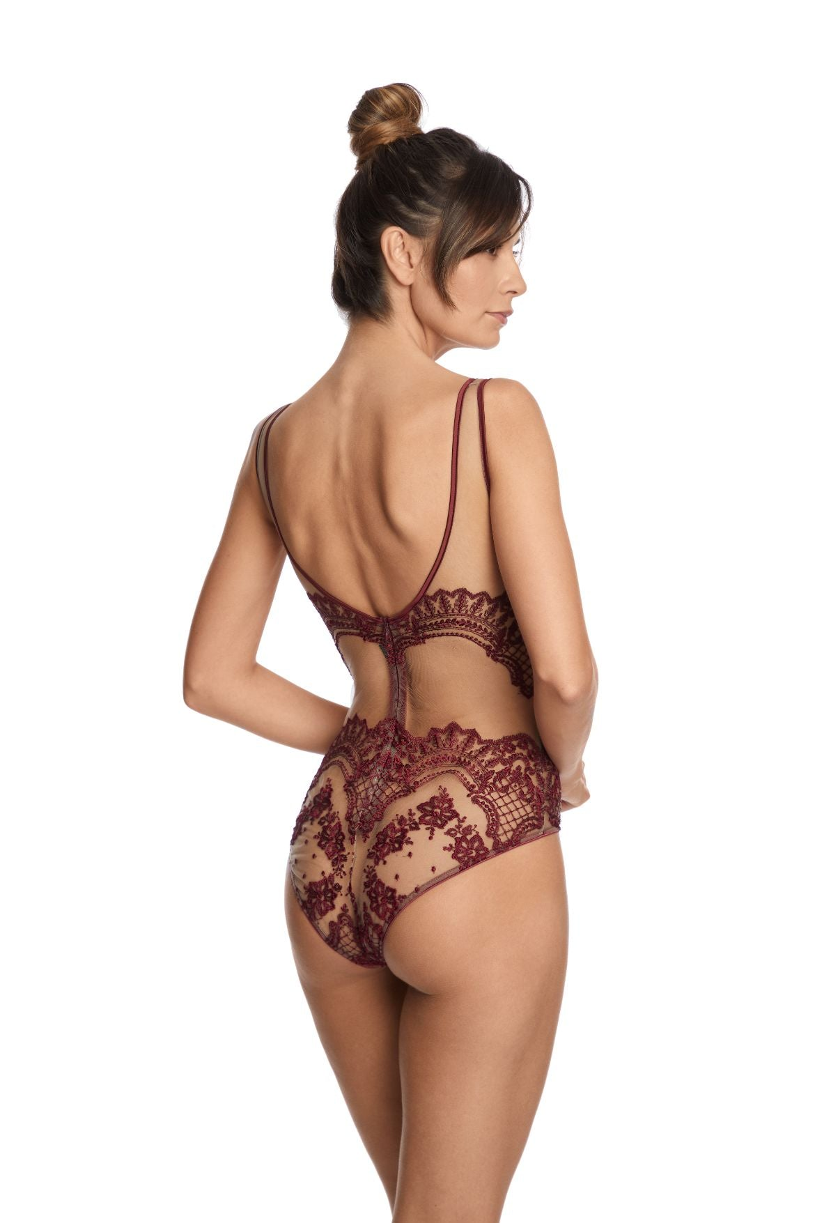I.D. Sarrieri embroidered tulle bordeaux underwired cups bodysuit