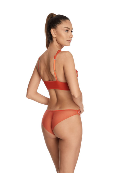 I.D. Sarrieri embroidered tulle orange triangle bra and brief