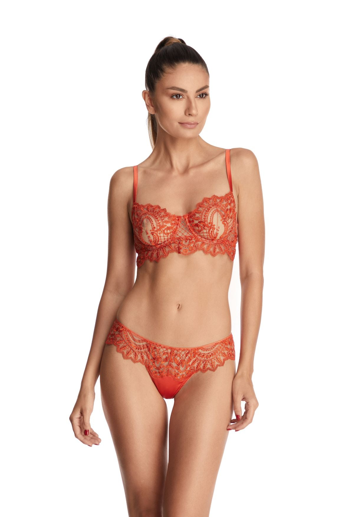 Petit Matin Balconette Bra in Vermillion Orange