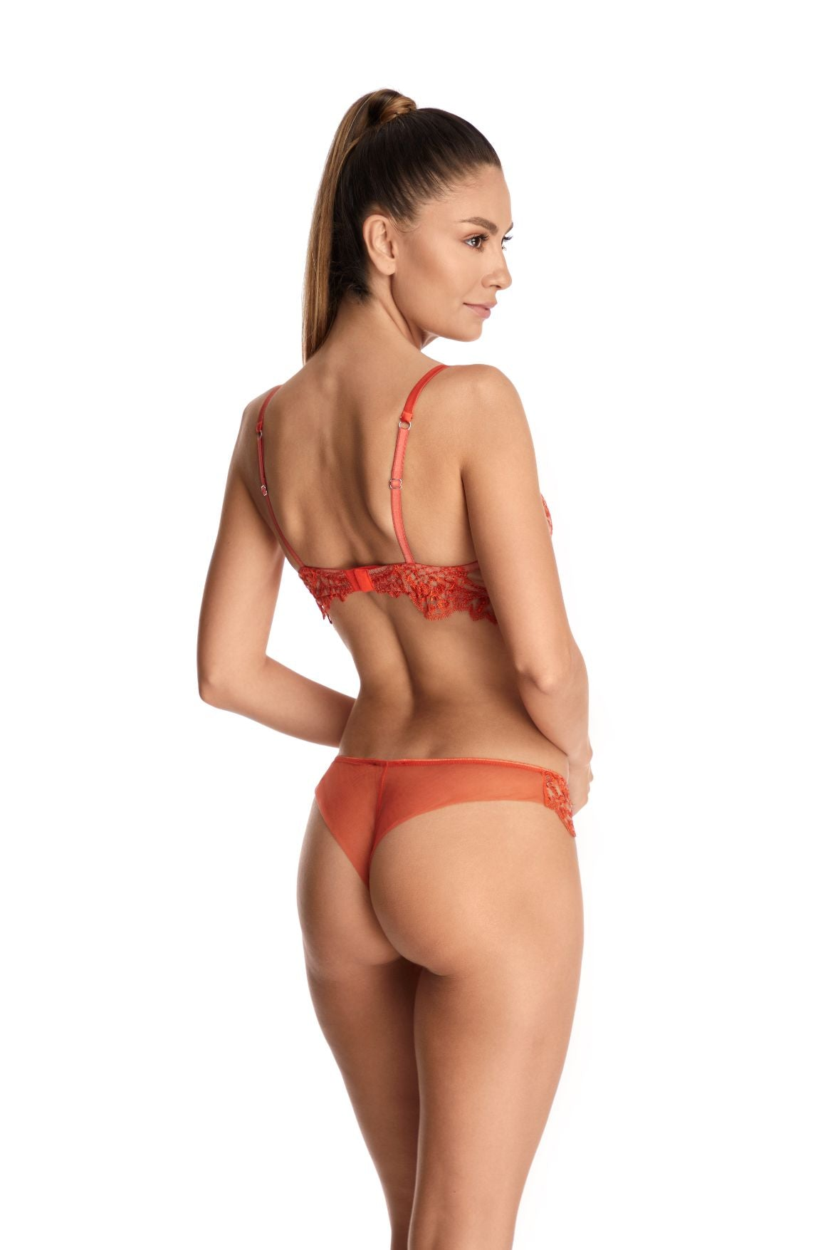 I.D. Sarrieri embroidered tulle orange underwired bra and thong