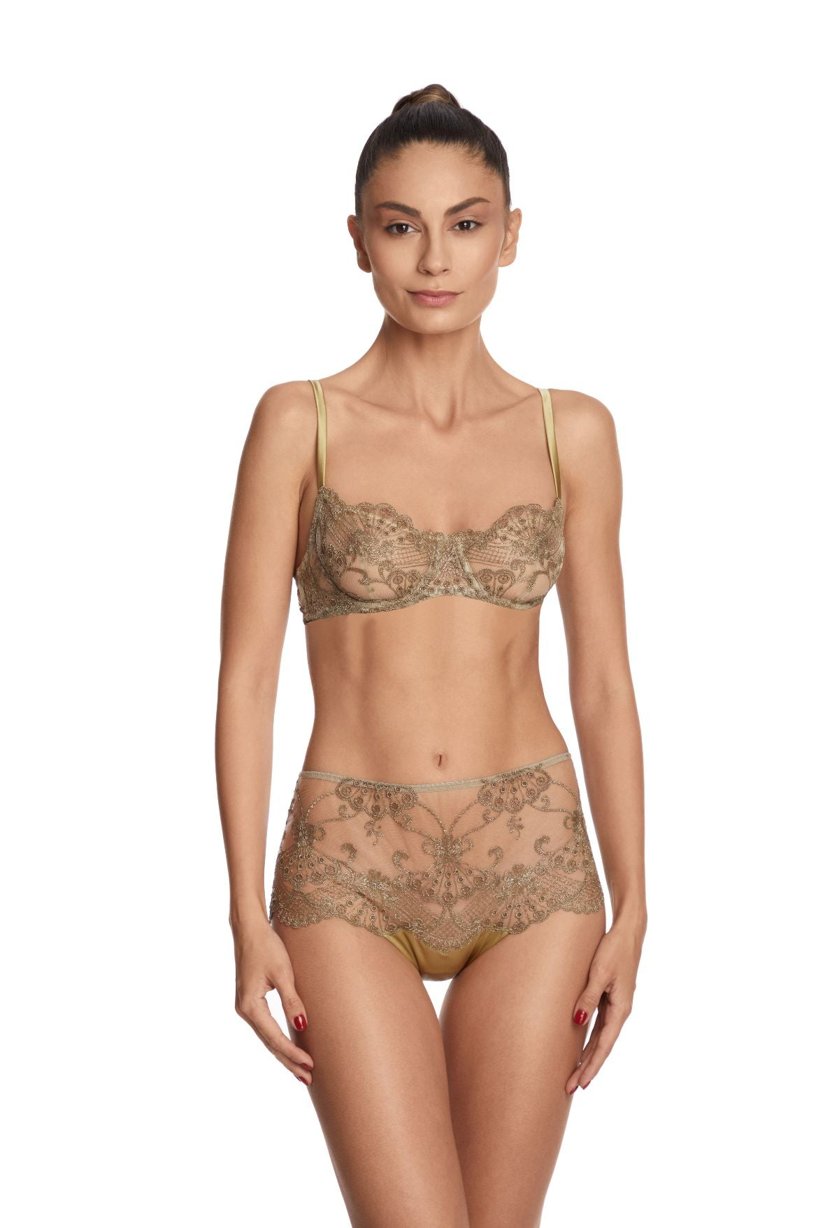 I.D. Sarrieri embroidered tulle gold underwired bra
