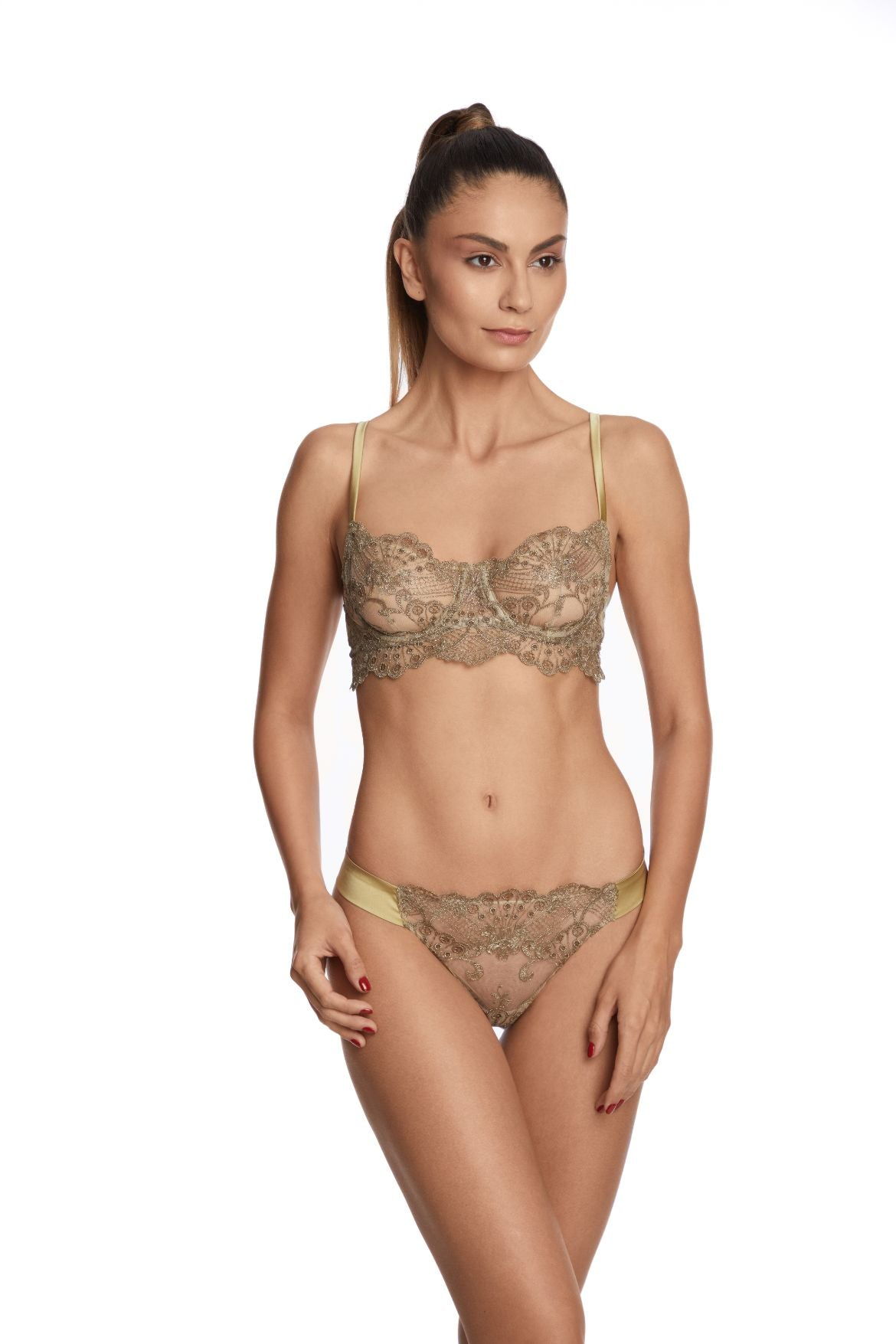 I.D. Sarrieri embroidered tulle gold underwired bra and thong