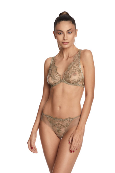I.D. Sarrieri embroidered tulle gold underwired triangle bra and brief