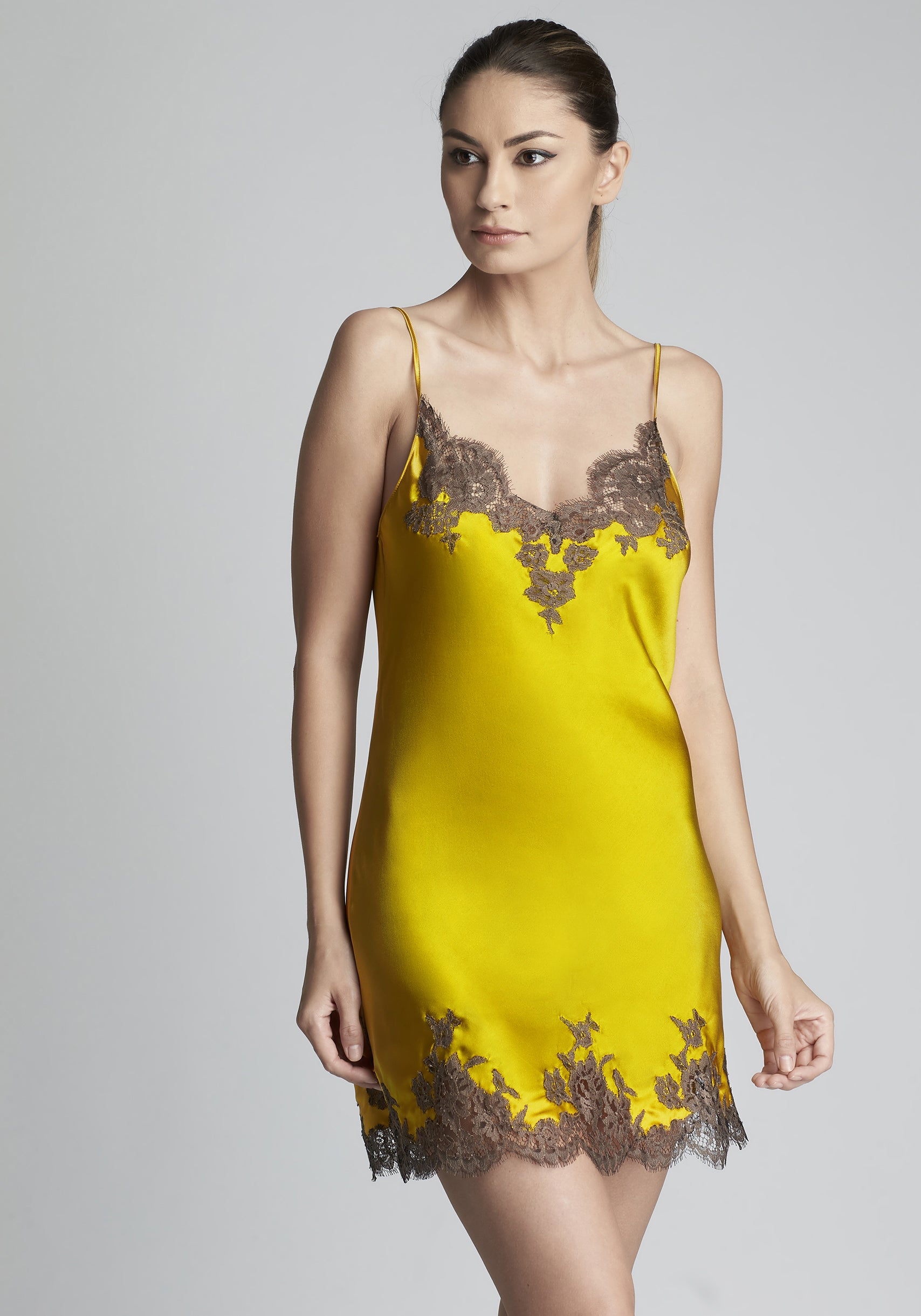 I.D. Sarrieri silk and lace midi camisole in gold