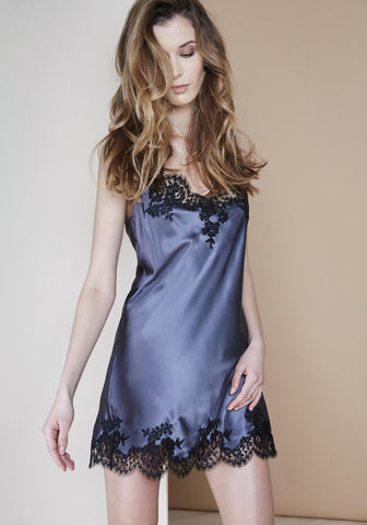 Midnight Delights Long Dress in Black Flowers