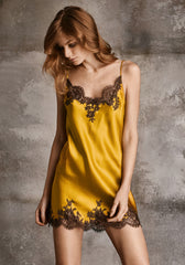 Hotel Particulier Mini Chemise With Lace Inserts in Royal Gold/Mink