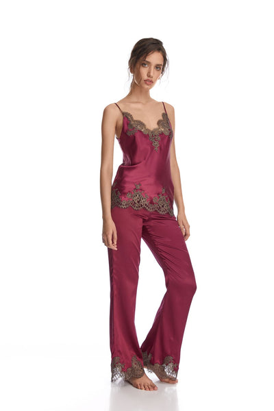 I.D. Sarrieri Silk and lace orchid camisole