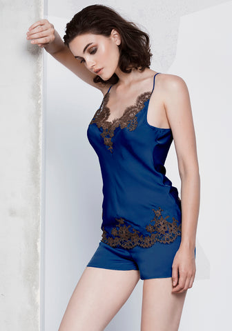 Isolde Top with lace inserts  in Navy Blue