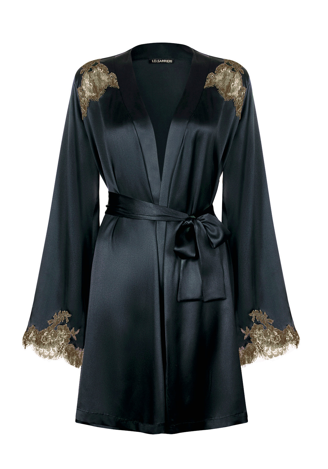 I.D. Sarrieri silk and lace midi robe in anthracite