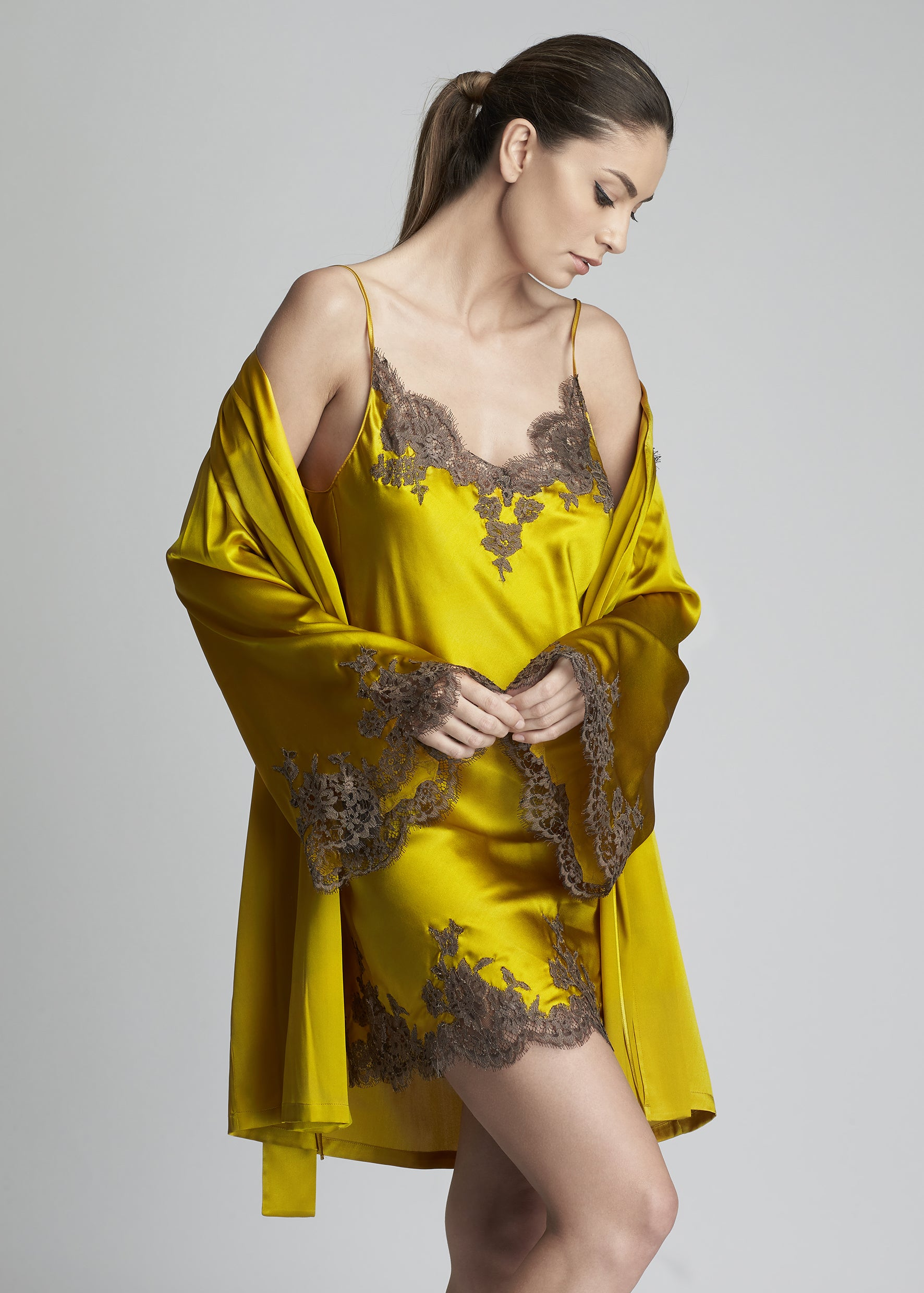 I.D. Sarrieri silk and lace midi camisole and robe in gold  Edit alt text