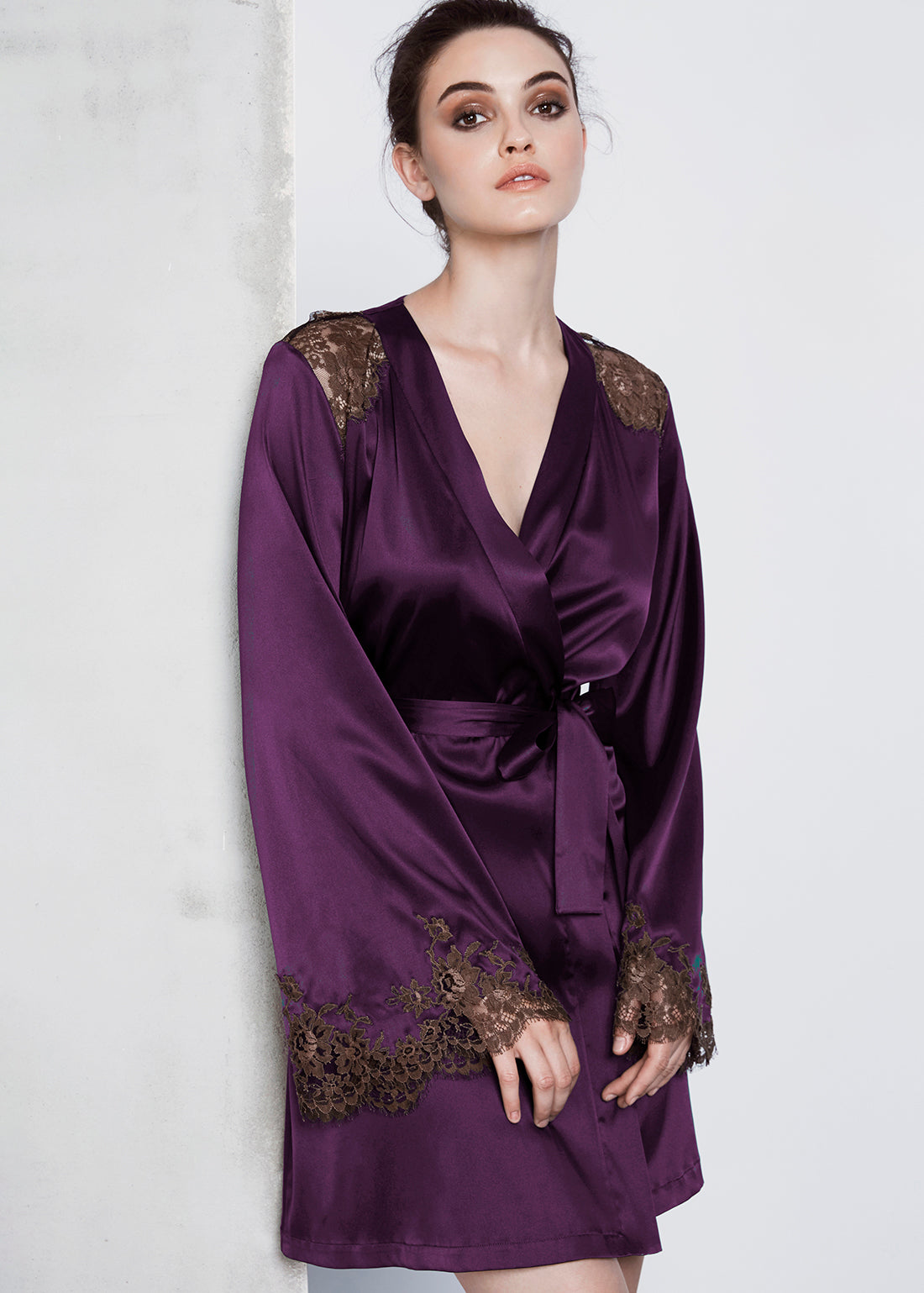 I.D. Sarrieri Silk and lace violet short robe