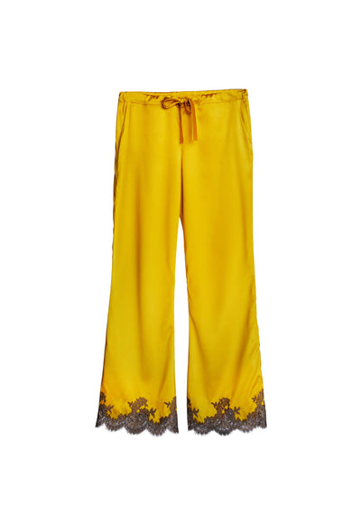 Hôtel Particulier Long Silk Pants With Lace Insets in Royal Gold/Mink - I.D. Sarrieri