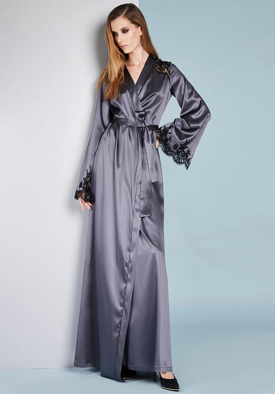 I.D. Sarrieri Long Silk robe in Anthracite