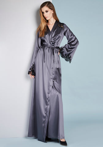 Le Désir Short Robe in Metallic Black