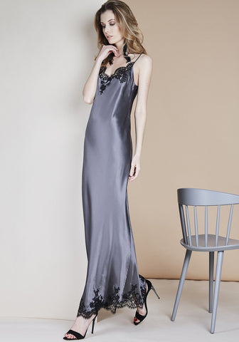 Hôtel Particulier Mini Slip Dress in Anthracite/Black