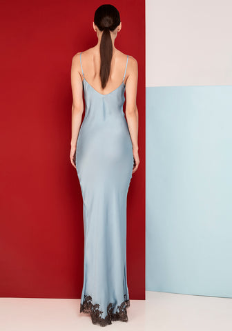 Hôtel Particulier Long Slip Dress in Bleu/Mink