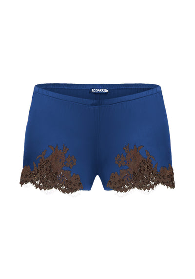 I.D. Sarrieri silk and lace pijama shorts in navy