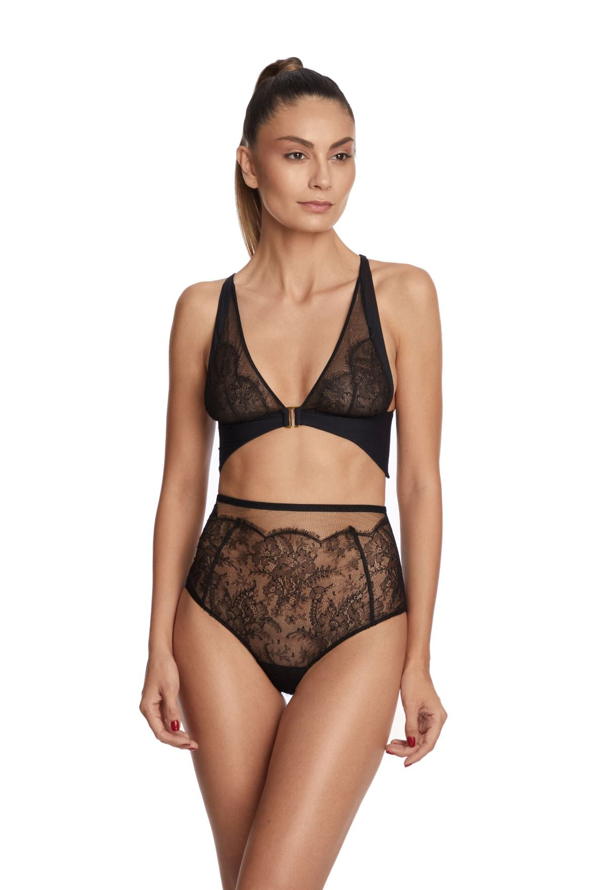 I.D. Sarrieri lace and tulle black high waist brief