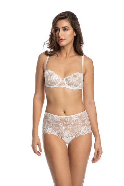 Valerie High Waist Brief in Ivory - I.D. Sarrieri