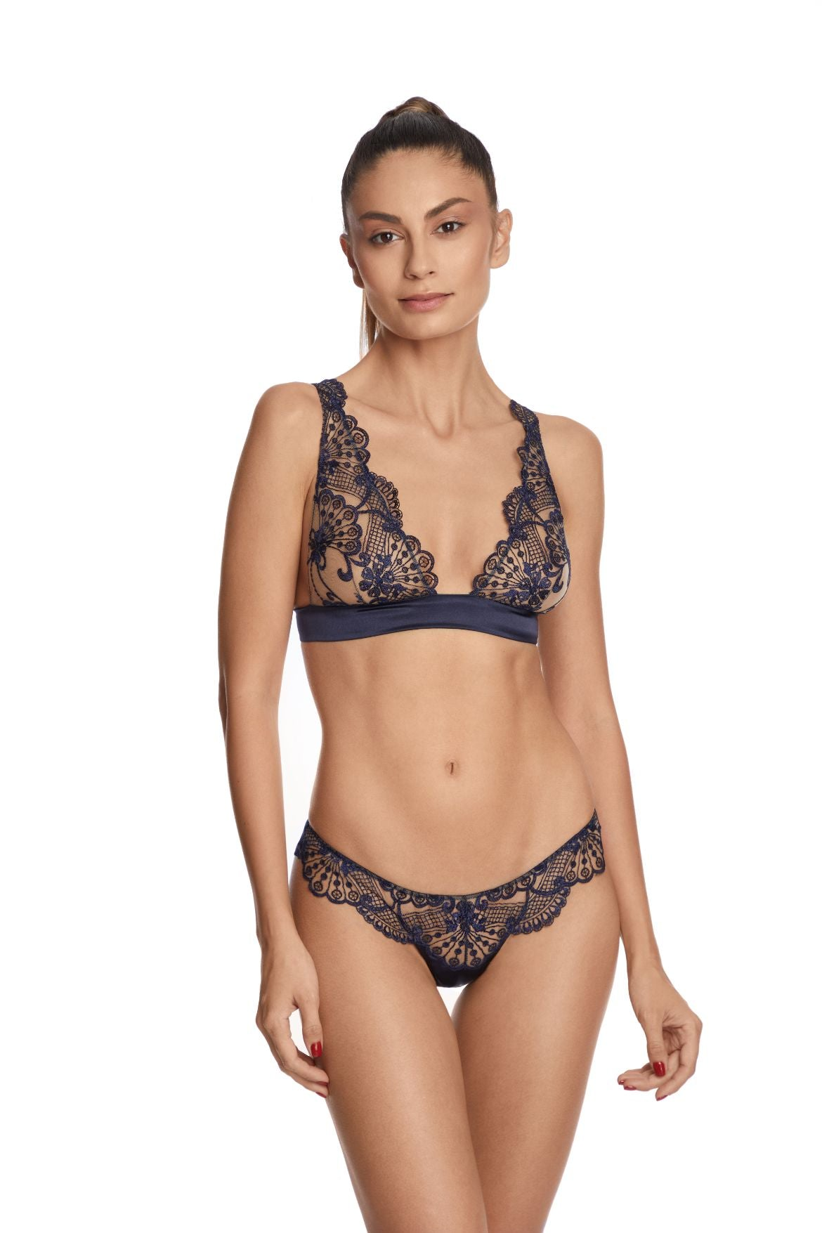 I.D. Sarrieri embroidered tulle soft cup triangle bra and thong in navy