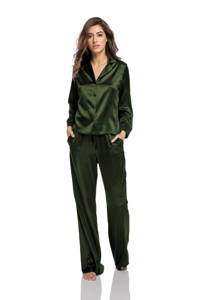 Lombard Street Pyjama Blouse in Army Green