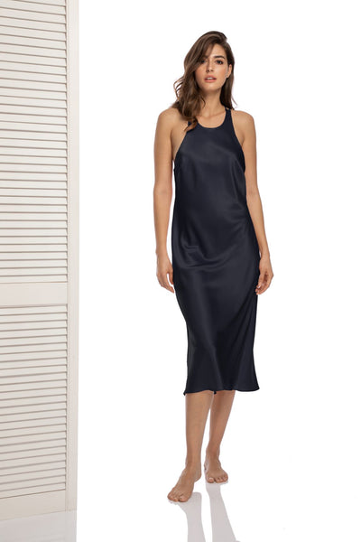Lombard Street Halterneck Dress in Charcoal