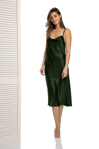 Lombard Street Dress with Cross Back Straps in Army Green