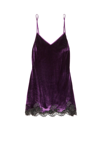 Hotel Particulier Silk Satin Camisole With Lace Inserts in Deep Blue/Mink