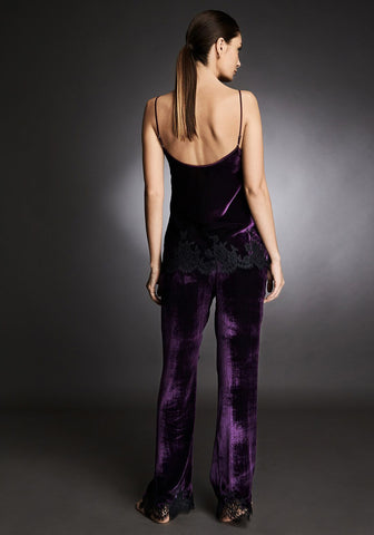 Tresor Imperiale Velvet Camisole With Lace Insets in Royal Haze