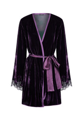 Tresor Imperiale Short Velvet Robe with Lace Insets in Royal Haze