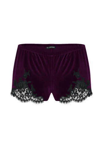 Tresor Imperiale Short Pants with Lace Insets in Royal Haze