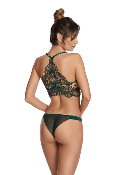 I.D. Sarrieri embroidered tulle padded push-up bra in green