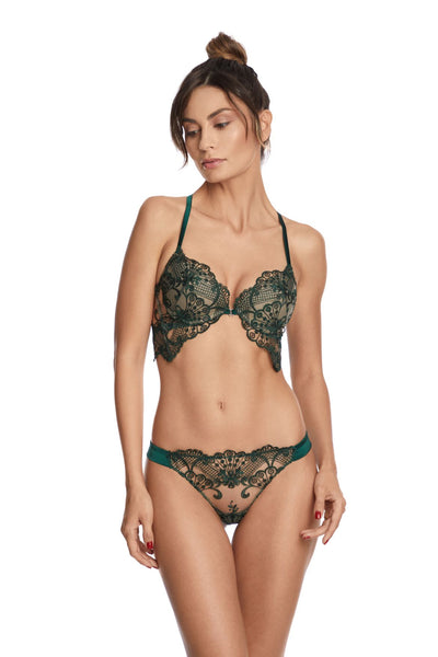 I.D. Sarrieri embroidered tulle thong and bra in green