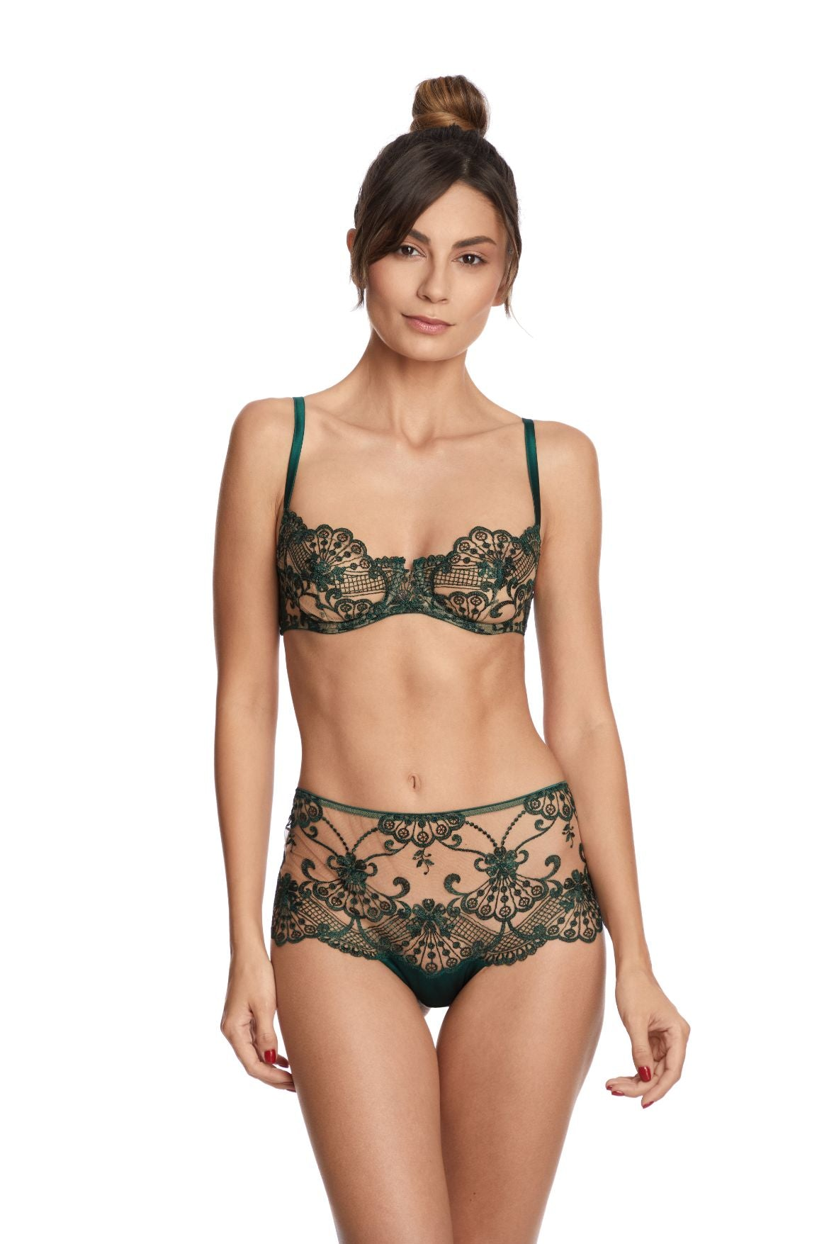 I.D. Sarrieri embroidered underwired bra in green