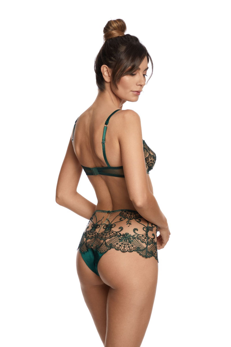 Midnight Dream Balconette Bra in Dark Green