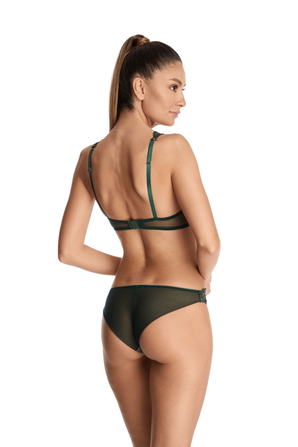 I.D. Sarrieri embroidered tulle brief in green