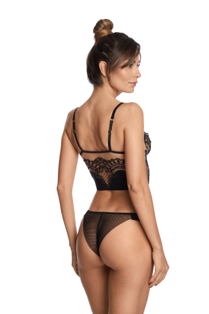 I.D. Sarrieri embroidered tulle black demibustier and thong