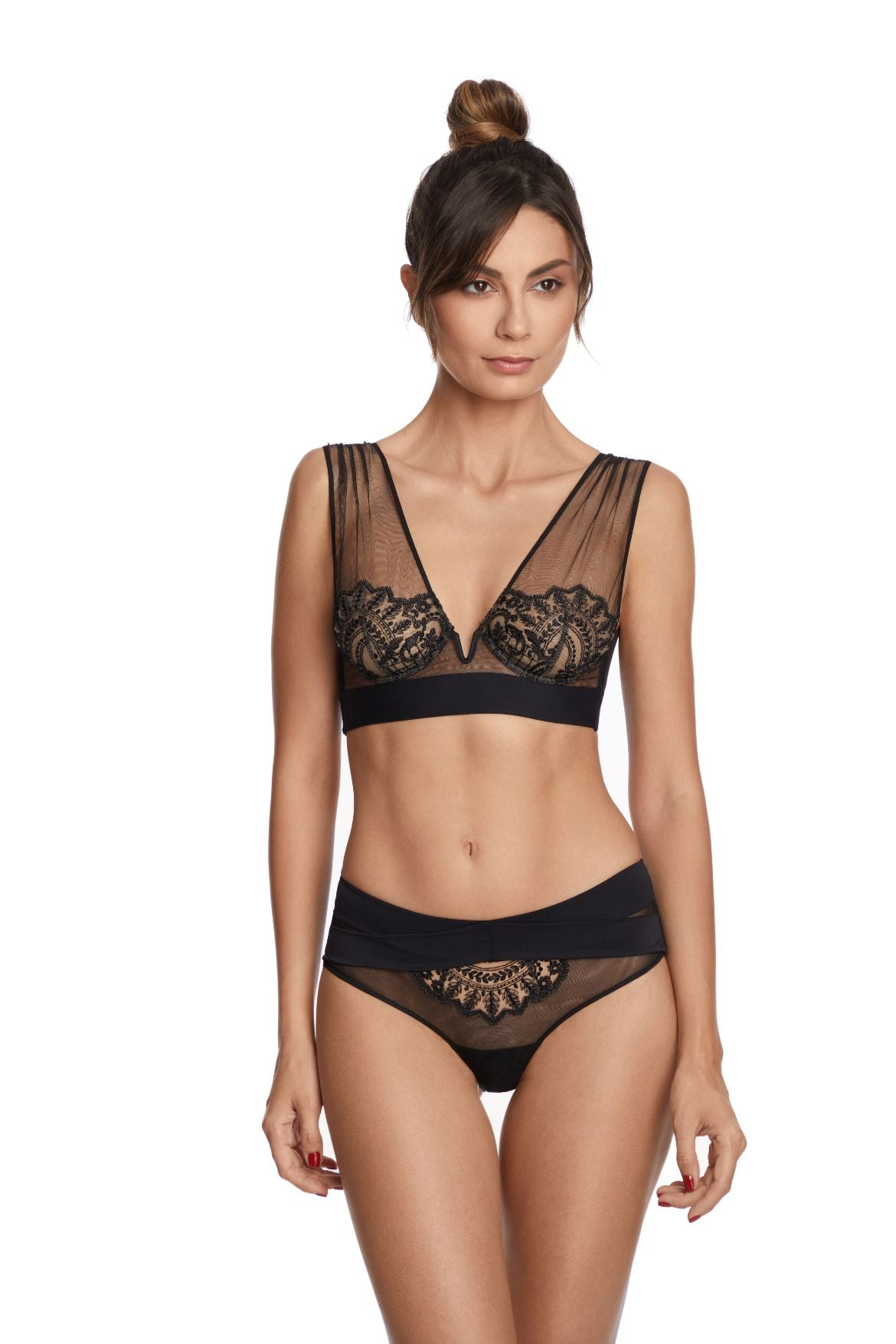 I.D. Sarrieri embroidered tulle black soft cup bra and brief