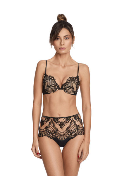 I.D. Sarrieri embroidered tulle black padded-push up bra and high waist brief