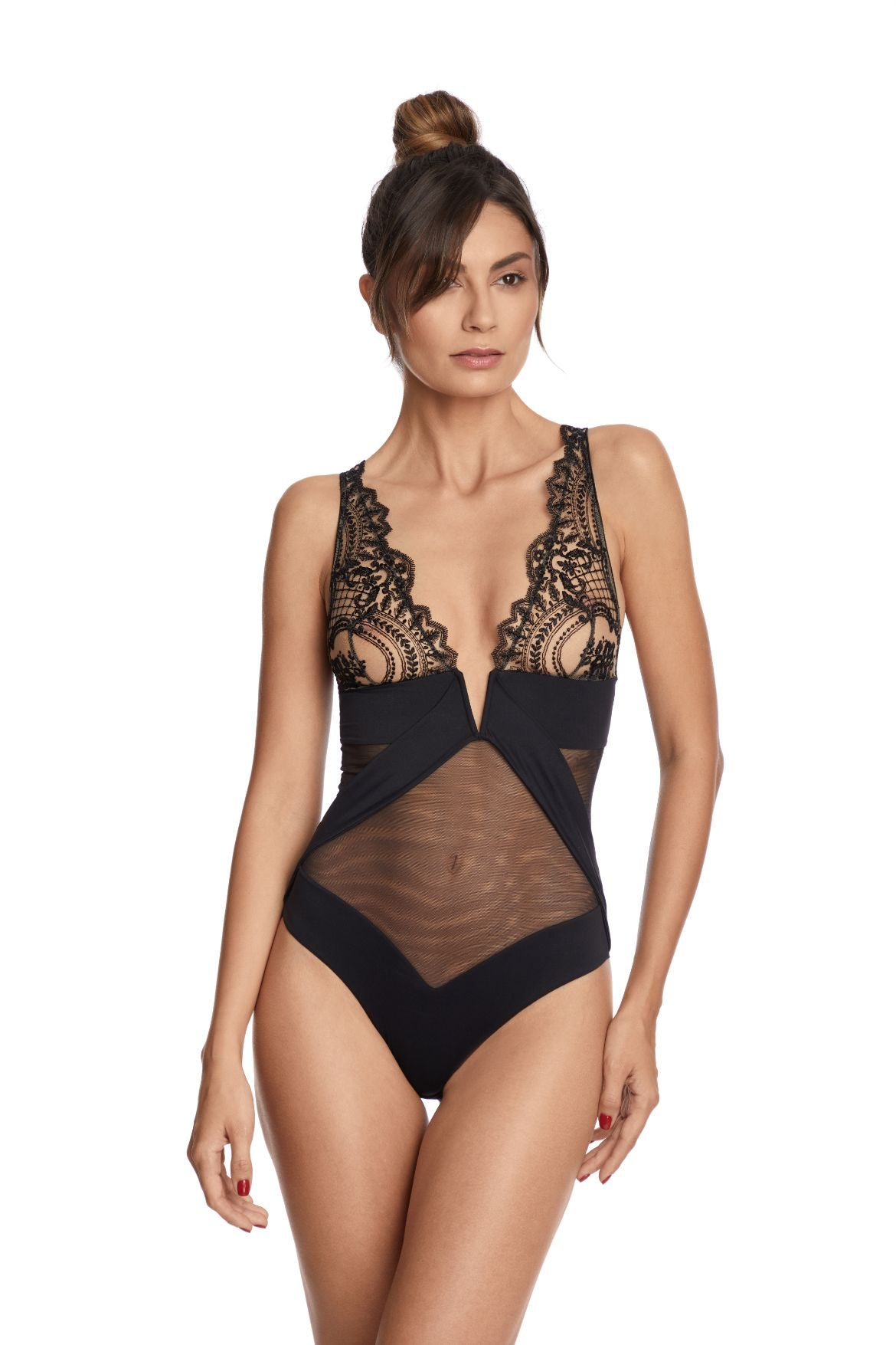 I.D. Sarrieri embroidered tulle black soft cup bodysuit