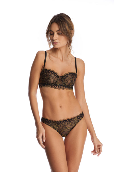 Golden Tulip Brazilian Briefs in Black/Gold