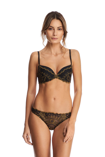 Golden Tulip Padded Push-Up Bra in Black/Gold