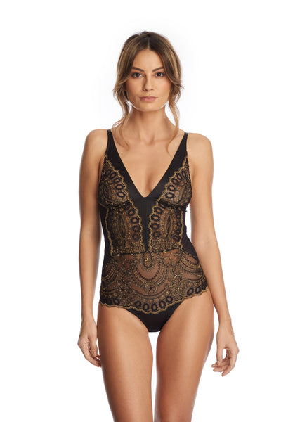 Golden Tulip Bodysuit in Black/Gold - I.D. Sarrieri