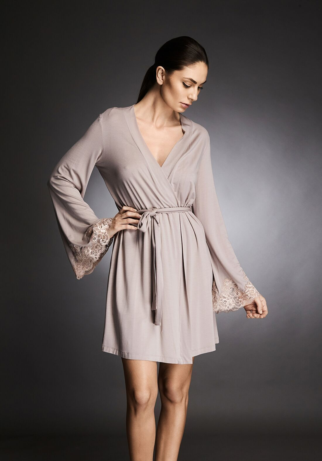 I.D. Sarrieri modal and lace robe in almond nude