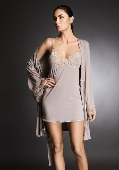 Isolde Midi Chemise With Lace Insets in Almond Nude