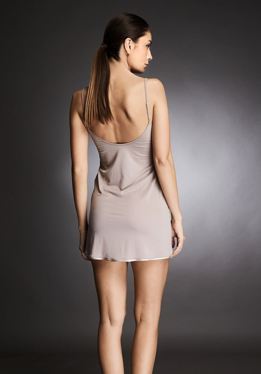 Isolde Midi Chemise With Lace Insets in Almond Nude - I.D. Sarrieri