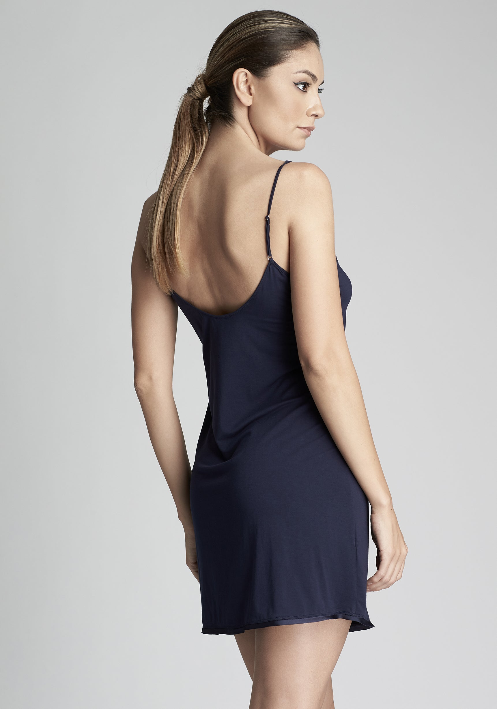 Isolde Midi chemise  with lace inserts  in Navy Blue