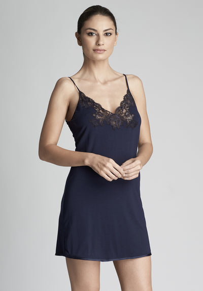 I.D. Sarrieri modal and lace camisole in navy