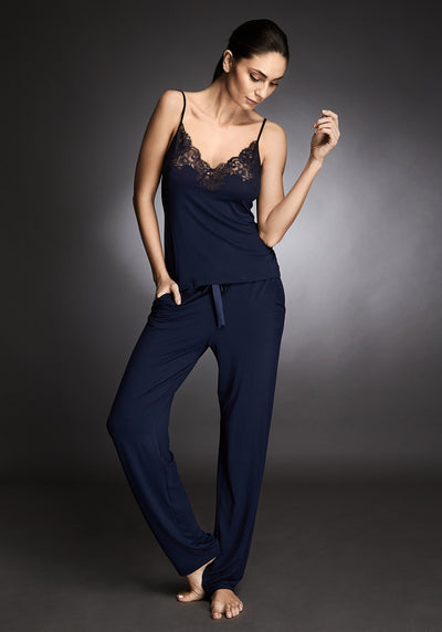 I.D. Sarrieri modal and lace pyjama top in navy