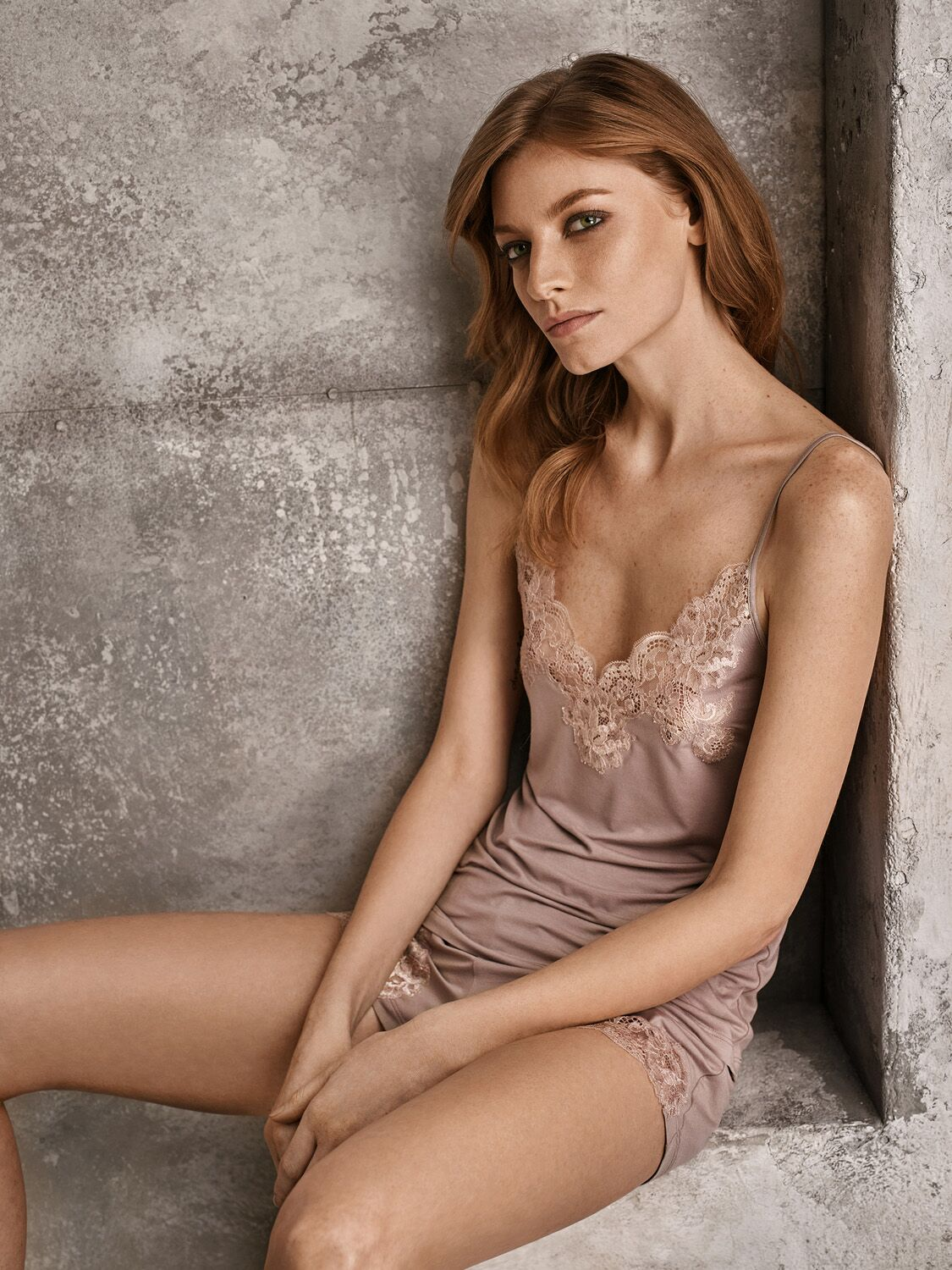 I.D. Sarrieri modal and lace shorts in almond nude